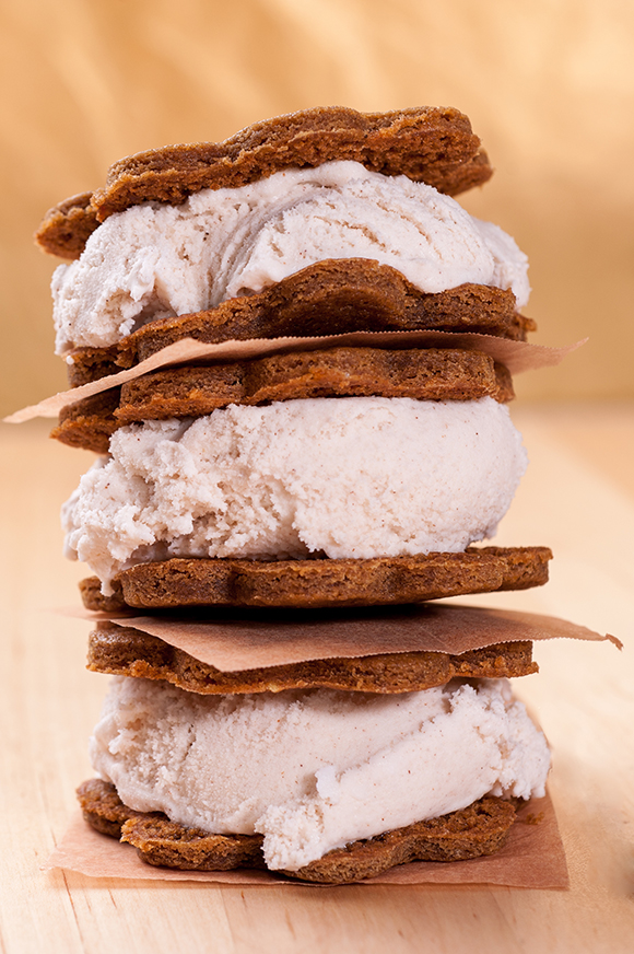 Ginger Ice Cream Sandwiches with Molasses Cookies