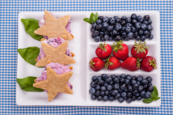 Fourth of July Ice Cream Sandwich with Berry and Basil Ice Cream
